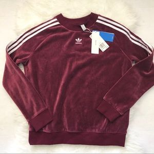 NEW! Adidas Velvet Crewneck Sweatshirt in Maroon NWT